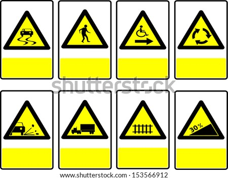 Vector illustration of triangle black and yellow road signs on the square.