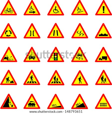 Vector illustration of triangle red and yellow road signs collection