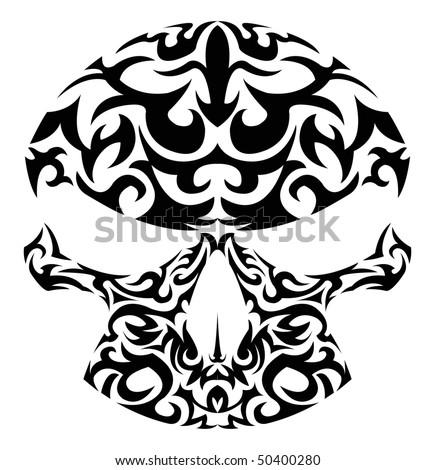 stock vector Vector illustration of tribal patterns skull