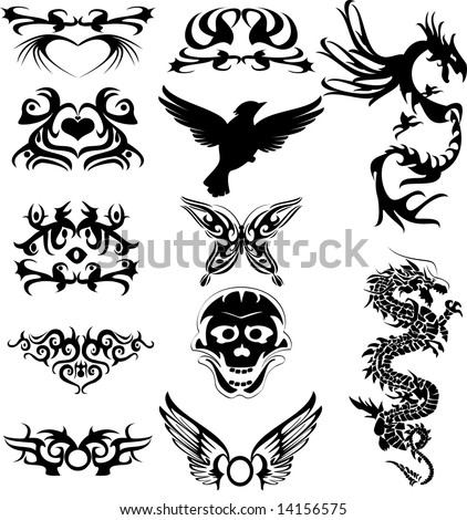 Stock Photo Vector illustration of tribal tattoos and silhouette
