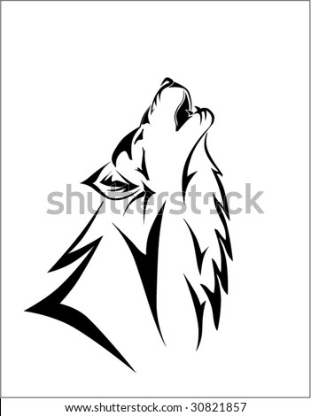 Vector illustration of tribal wolf