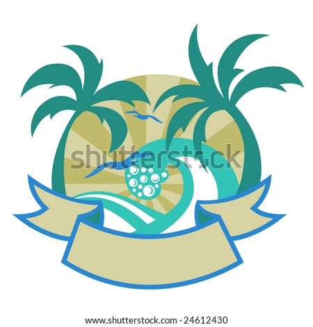 Vector illustration of tropical islands with beautiful palms, beach and seagulls. - stock vector