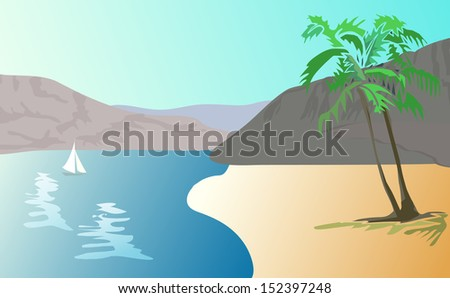 Vector illustration  of tropical landscape -    beach with palm trees.