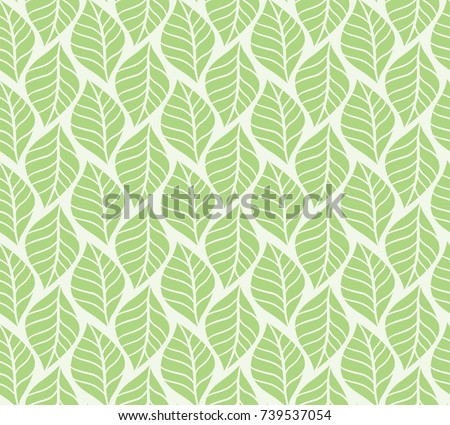 Vector illustration of tropical leaves seamless pattern. Floral organic background. Hand drawn leaf texture.