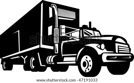 vector illustration of truck with container van trailer isolated on white