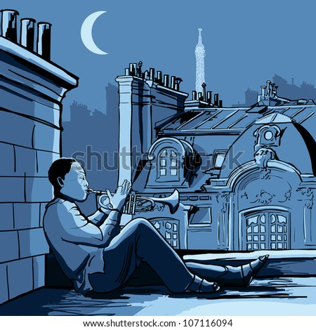 Vector illustration of trumpet player on a roof in Paris