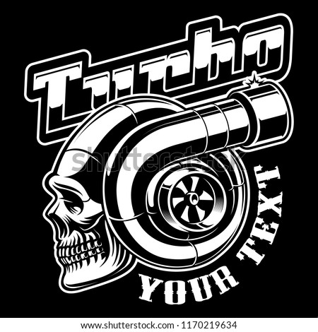 Vector illustration of turbocharger with skull. Street racing logo design on dark background.