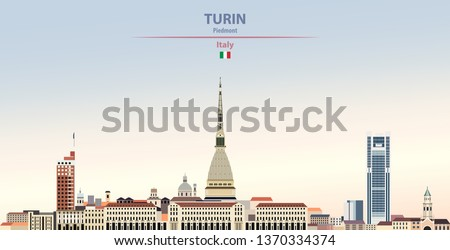 Vector illustration of Turin city skyline on colorful gradient beautiful day sky background with flag of Italy