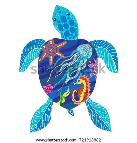 Vector illustration of turtle, sea turtle, seahorse, starfish, jellyfish. Isolated on white.