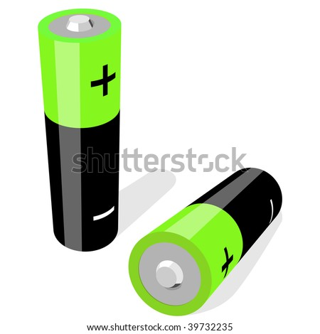 Vector illustration of two AA-size batteries isolated on white background. No gradients or effects .