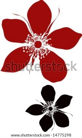 Vector Illustration of two abstract rose flower elements isolated on white background