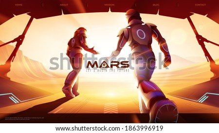 Vector illustration of two astronauts are walking out from the spaceship to the outside on Mars, ready for the greatest exploration