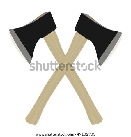 Vector illustration of two axe are isolated on white background