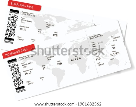 Vector illustration of two boarding pass. Red flight airline tickets. The boarding pass contains fictitious data in the text. Travelers need to have paper boarding pass tickets for travel by plane Stock photo ©