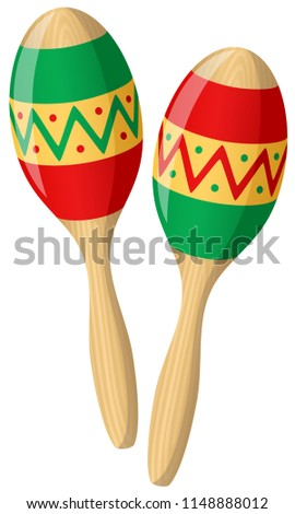 Vector illustration of two brightly colored, decorated maracas.