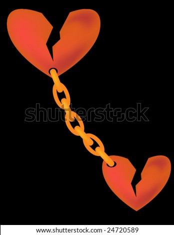 vector illustration of two broken hearts  chain connected isolated on black
