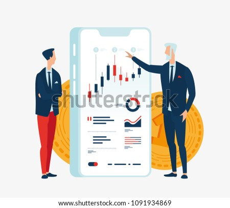 Vector illustration of two businessmen in front of the screen gadget with graphs of financial indicators. To illustrate financial articles, reports, blogs, news for posting on websites and print media