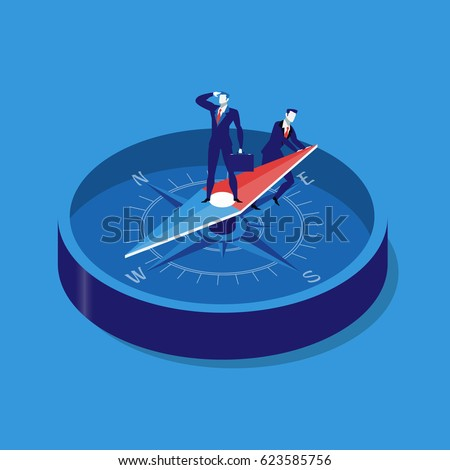 Vector illustration of two businessmen using compass for navigation and orientation in business. Strategy concept flat style design.