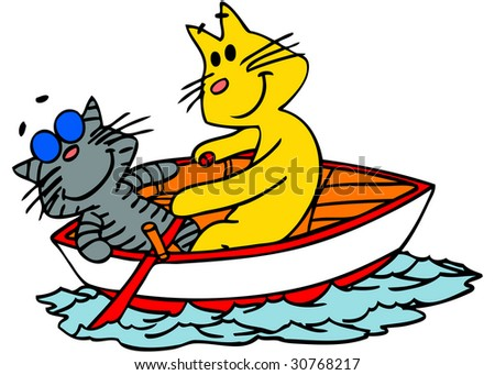 Vector illustration of two cats in a    boat. - stock vector