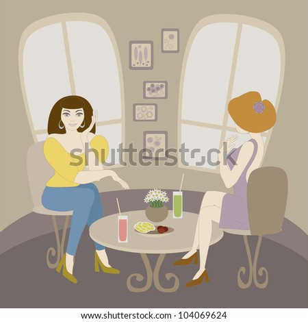 Vector illustration of two caucasian woman talking in cafe. No mesh, gradient, transparency used. Objects grouped and named in English.