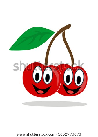Vector illustration of two cherries smiling happily. Simple cartoon cherry with a clean white background.
