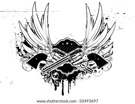 Vector illustration of Two cowboy revolver guns with shield on the grunge Background