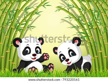 vector illustration of two cute