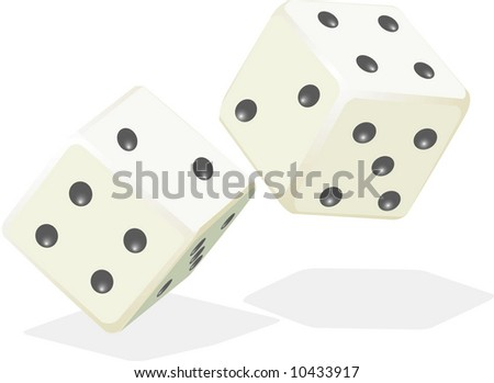 Vector illustration of two dice in motion
