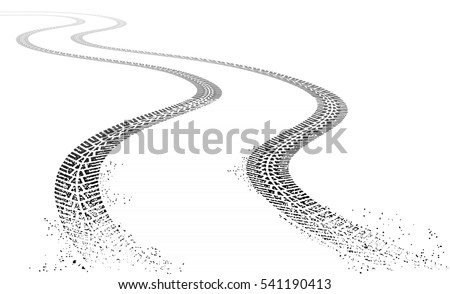 Vector illustration of two dirty grunge Tire tracks fading into the horizon