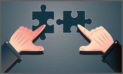 vector illustration of two hands combining two pieces of a puzzle together, temwork, partnership and the concept of cooperation