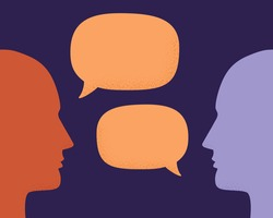 Vector illustration of two human heads silhouette talking through speech bubbles. Concept of communication, dialogue, chat, conversation, meeting, arguing, listening.