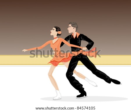 vector illustration of two ice dancers in action in eps 10 format