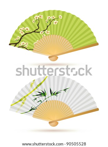 Vector illustration of two japanese folding fans isolated on white.
