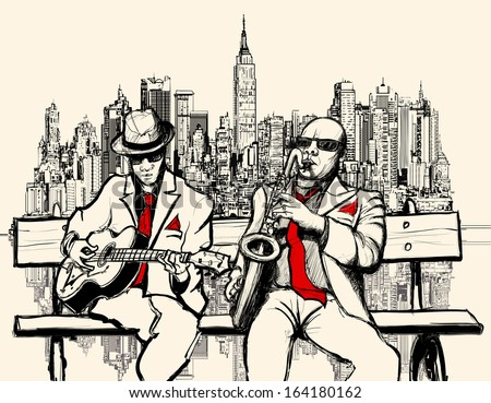 vector illustration of two jazz