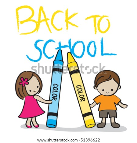 """Vector illustration of two kids holding crayons with the """"Back to School"""" text on the background."""