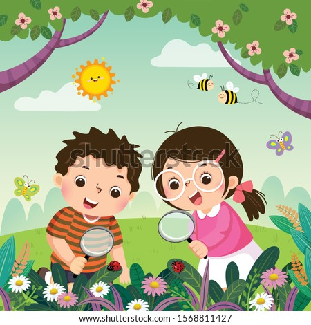 vector illustration of two kids