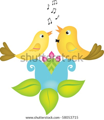 Vector illustration of two little birds singing  stock vector