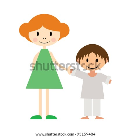 Vector illustration of two little kids: sister and younger brother