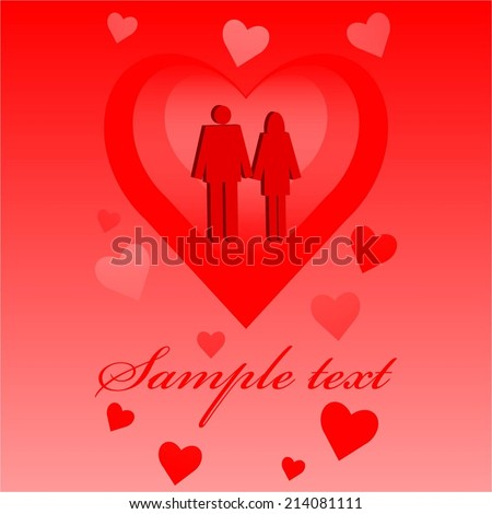 Vector illustration of Two lovers. Red background. #214081111