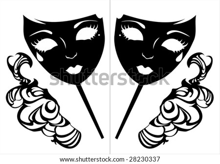 Vector illustration of two masks for a masquerade.