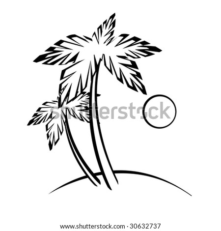 Palm Tree on The Beach Drawing Palm Trees Sun And Beach