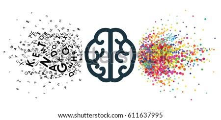 vector illustration of two pars of brain verbal and creative for thinking style concepts