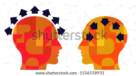 vector illustration of two people and arrows with extrovert and introvert orientation  Foto stock ©