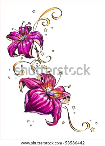 Vector illustration of two pink flowers and small stars isolated on white background.