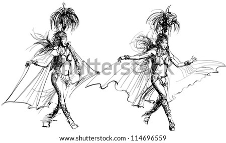 Vector illustration of two samba dancer