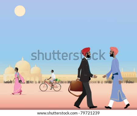 vector illustration of two sikh men meeting in a city street in india in eps 10 format