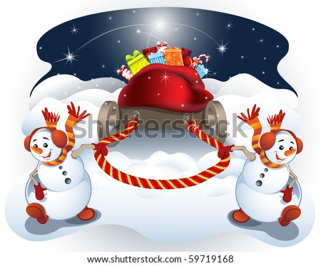 Vector illustration of two snow-boys, which pull the sled with gifts.