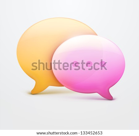 Vector illustration of two speech bubble web icons with chat room internet sign.