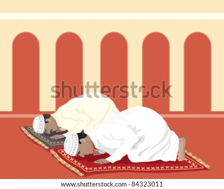 vector illustration of two traditionally dressed muslim men praying at the mosque in eps 8 format