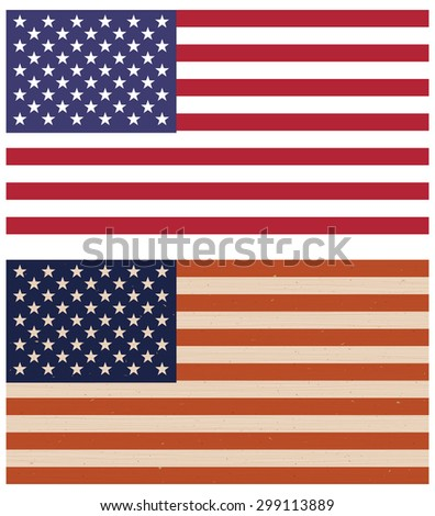 Vector illustration of two variants of American flags